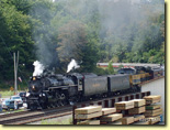 Nickel Plate 765 steam engine eastbound: Norfolk Southern celebrated its 30th Anniversary with a series of employee appreciation passenger train trips, featuring Ft. Wayne Chapter (NRHS)'s figurehead steam locomotive, Nickel Plate 765.  With NS's Nickel Plate heritage locomotive 8100 providing a diesel