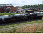 Nickel Plate 765 steam engine westbound: Norfolk Southern celebrated its 30th Anniversary with a series of employee appreciation passenger train trips, featuring Ft. Wayne Chapter (NRHS)'s figurehead steam locomotive, Nickel Plate 765.  With NS's Nickel Plate heritage locomotive 8100 providing a diesel